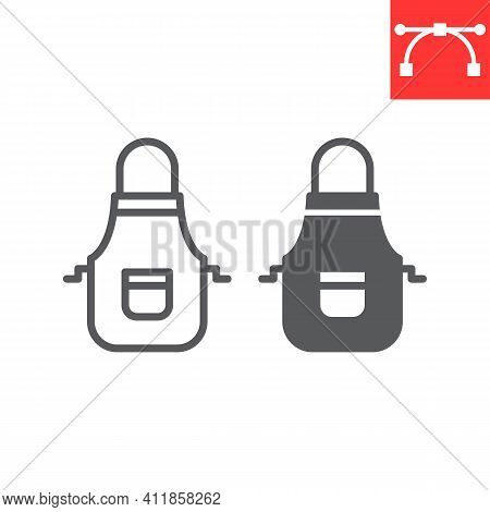 Apron Line And Glyph Icon, Cook And Culinary, Kitchen Apron Vector Icon, Vector Graphics, Editable S