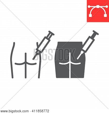 Intramuscular Injection Line And Glyph Icon, Vaccination And Syringe, Buttock Injection Vector Icon,