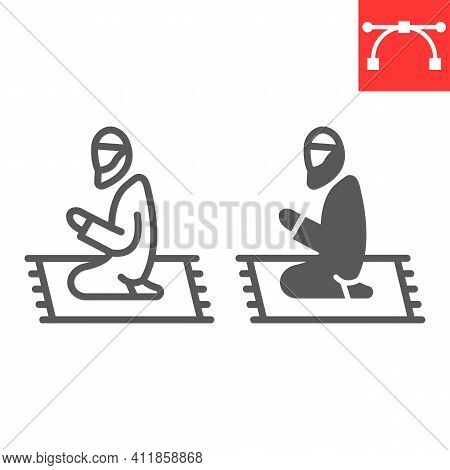 Muslim Prayer Line And Glyph Icon, Happy Ramadan And Religion, Islamic Prayer Vector Icon, Vector Gr