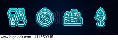 Set Line Rubber Flippers For Swimming, Compass, Fishing Boat On Water And Lure. Glowing Neon Icon. V