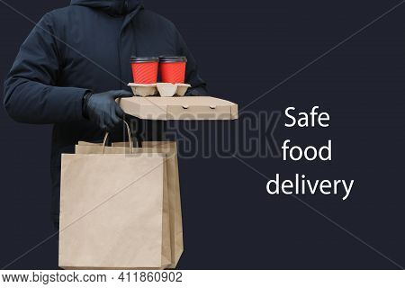 Home Delivery With Gloves And Mask. Delivery To Coronavirus. Safe Delivery Of Groceries. Food Delive