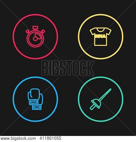 Set Line Boxing Glove, Fencing, T-shirt With Fight Club Mma And Stopwatch Icon. Vector