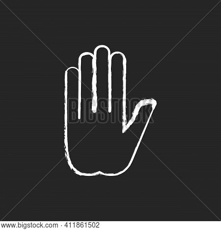 Stop Gesture Chalk White Icon On Black Background. Prohibition Of Something. Palm Of A Hand With Fiv