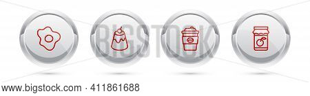 Set Line Scrambled Eggs, Pudding Custard, Coffee Cup To Go And Jam Jar. Silver Circle Button. Vector