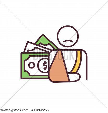 Disability Compensation Rgb Color Icon. Income Replacement. Short, Long Term Disability Benefit. Mon
