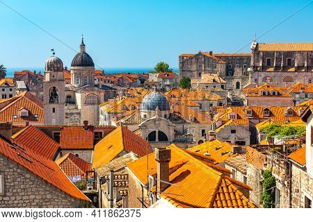 Panorama Dubrovnik Old Town Roofs. Tourist Attraction. Europe, Croatia