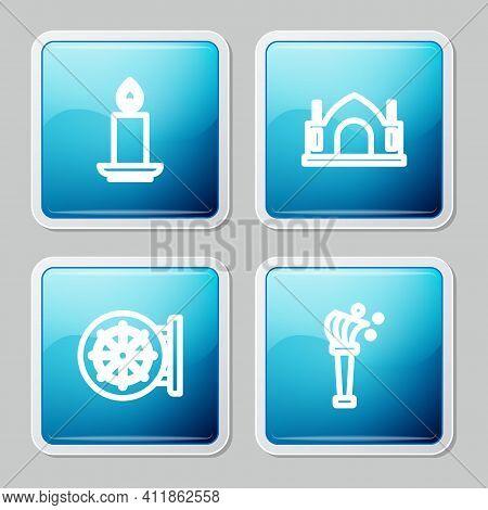 Set Line Burning Candle, Hindu Spiritual Temple, Dharma Wheel And Aspergillum Icon. Vector