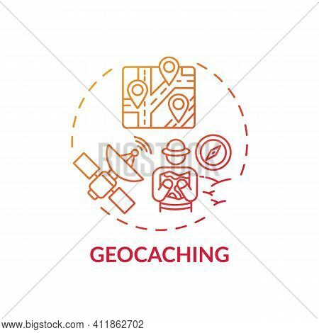 Geocaching Concept Icon. Outdoor Family Activities. Outdoor Recreational Activity For Families In Fo