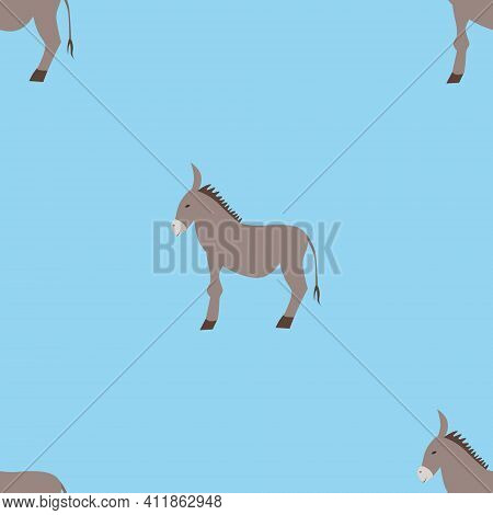Seamless Vector Pattern With Donkeys On A Blue Background. Background For Textiles, Covers, Screensa