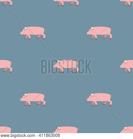 Seamless Vector Pattern With Pink Pigs On A Gray Background. Background For Textiles, Covers, Screen