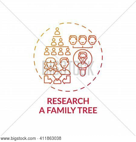 Research A Family Tree Concept Icon. Family Bonding Tips. Getting New Information About Old Relative