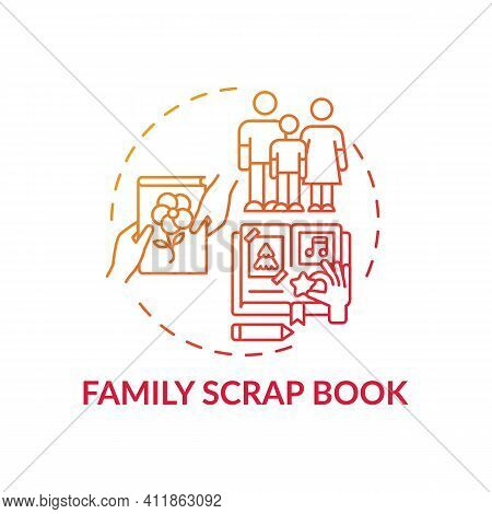 Family Scrap Book Concept Icon. Family Bonding Tips. Creating History Of Your Family Photo Book. Act