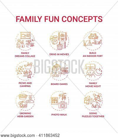 Family Fun Concept Icons Set. Family Dreams Photo Collage. Growing Plants In House Garden. Family Mo