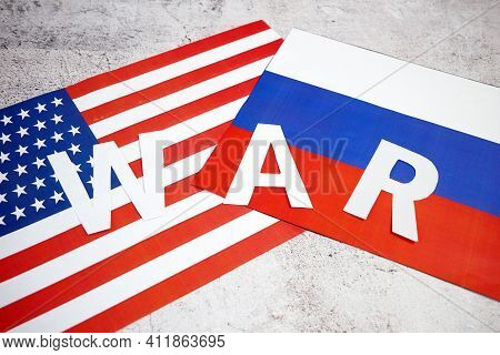 Russian Federation & Usa - Disagreement, Russia And Usa Flags. Relationship Conflict Between Usa And