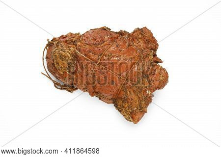 Top View Of Smoked Ham In Herbs In One Piece, In Netting, Isolated On White Background. Homemade, Sm