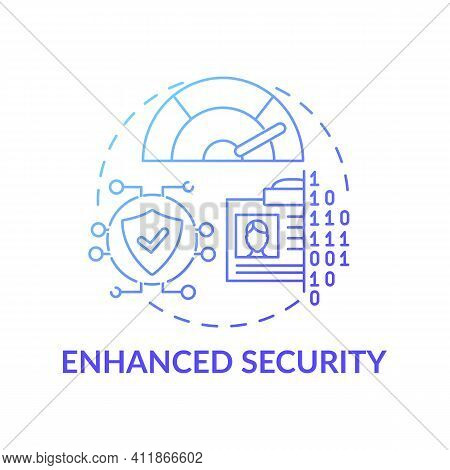Enhanced Security Concept Icon. Surfing Internet Space Idea Thin Line Illustration. Protection From