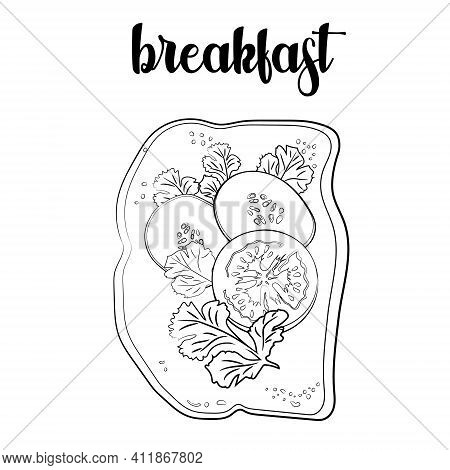 Outline Of The Toast With Tomatoes, Parsley And Cucumbers. Vector Illustration.