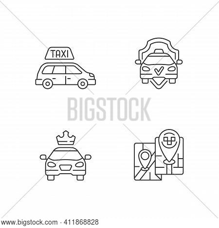 Modern Taxi Service Linear Icons Set. Safe Ride. Long Distance Trips. Premier Cars . Luxury Car Rent