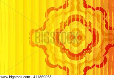 Background From Geometric Shapes And Circles. Abstract Mandala. Bright Wallpaper, Hot Sultry Sun. De