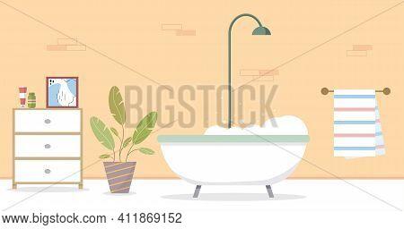 Modern Bathroom Interior. Bathroom In The Hotel. Home Interior. Vector Illustration In A Flat Style.