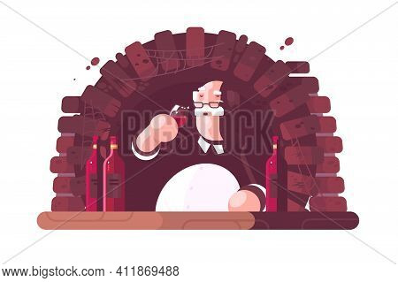 Sommelier Tasting Dry Red Wine In Cellar
