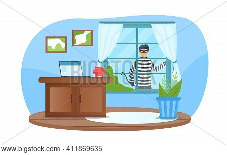 Male Criminal In Mask Is Looking Through Window Planning To Break In. Burglar Watching Before Break