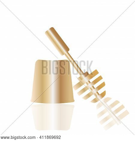 Golden Toilet Brush. Political Symbol Of The Opposition In Russia. Vector Icon.