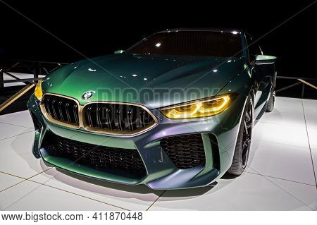 Brussels - Jan 18, 2019: Bmw M8 Gran Coupe Sports Car  Showcased At The Brussels Autosalon 2019 Moto