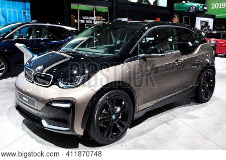 Brussels - Jan 18, 2019: Bmw I3s Car Showcased At The 97th Brussels Motor Show 2019 Autosalon.