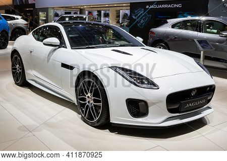 Brussels - Jan 18, 2019: World Premiere Of The Jaguar F-type Chequered Flag Special Edition Sports C