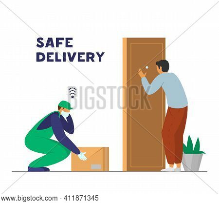 Contactless Safe Delivery. Courier In Protective Mask And Gloves Leaves Box Near Door And Inform Cus
