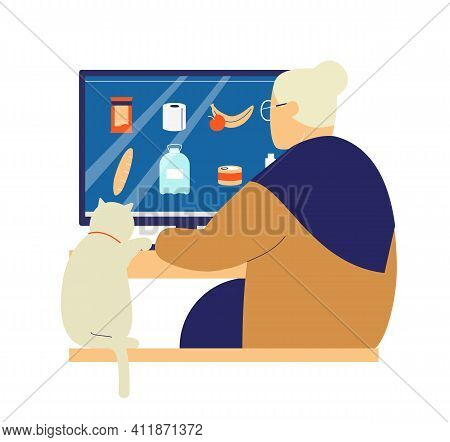 Old Lady With Cat Ordering Groceries Online. Online Shopping For Elderly People During Coronavirus Q