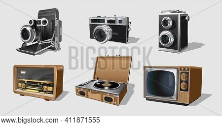 Retro Appliances, Set Of Vintage Machinery. Collection With Retro Vintage Radio, Tv, Photo Cameras,