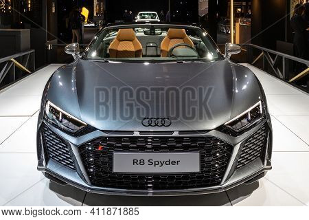 Brussels - Jan 18, 2019: Audi R8 Spyder Sports Car Showcased At The 97th Brussels Motor Show 2019 Au