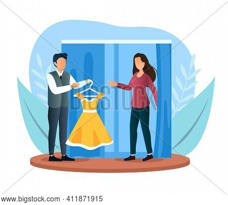 Female Character Trying On New Dress In Store Fitting Room. Male Assistant Helps Girl To Find Dress