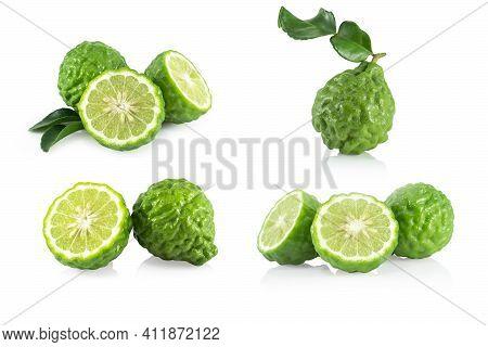 Set Of Fresh Bergamot Fruit Slice Isolated On White Background, Herb And Medical