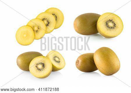 Set Of Fresh Gold Kiwi Fruit Isolated On White Background, Health Care Concept
