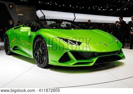 Geneva, Switzerland - March 5, 2019: New 2019 Lamborghini Huracan Evo Spyder Supercar Debuts At The