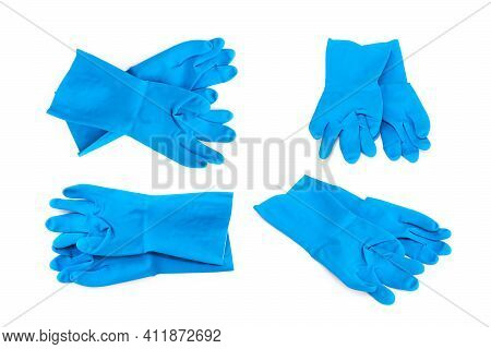 Set Of Blue Rubber Gloves For Cleaning On White Background, Workhouse Concept