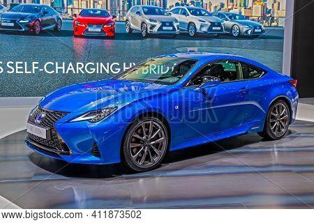 Lexus Rc 300h Hybrid Car Showcased At The 89th Geneva International Motor Show. Geneva, Switzerland