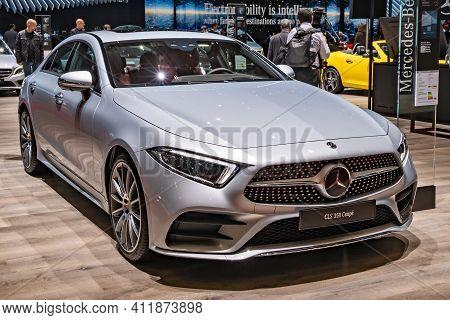 Mercedes Benz Cls 350 Coupe Car At The 89th Geneva International Motor Show. Geneva, Switzerland - M
