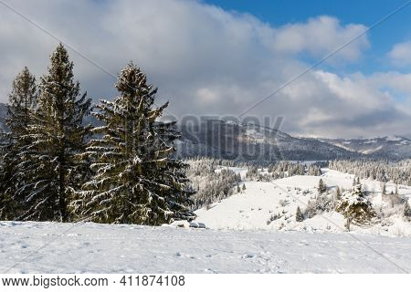 Nice winter day in Carpathian mountains. Take it in Ukraine