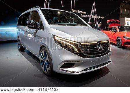 Geneva, Switzerland - March 6, 2019: All-electric Mercedes Concept Eqv Mpv Car Debut At The 89th Gen