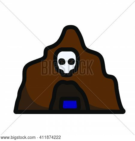 Scare Cave Icon. Editable Outline With Color Fill Design. Vector Illustration.
