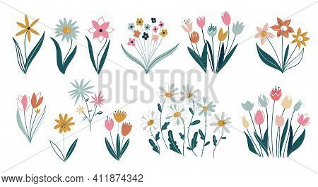 Set Of Differents Flowers On White Background. Ollection With Roses, Leaves, Floral Bouquets, Flower