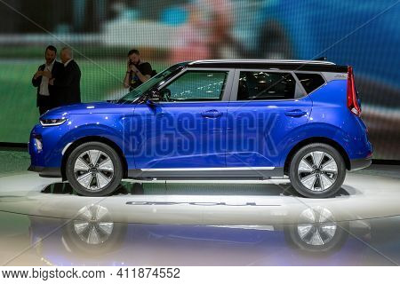 Geneva, Switzerland - March 5, 2019: Electric Kia E-soul Car European Debut At The 89th Geneva Inter