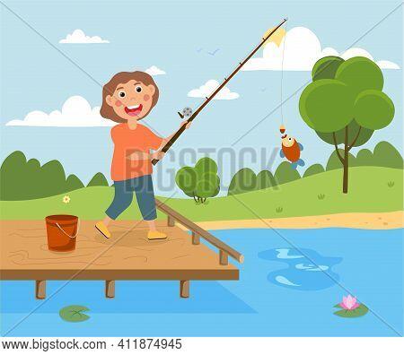 Little Happy Kid Is Fishing On A Pier. Little Child Is Happy After He Caught A Fish. Boy Is Celebrat