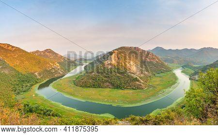 Valley Of Rijeka Crnojevica On Sunset National Park Skadar Lake Montenegro Balkans Europe. Great Tou