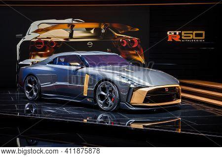 Nissan Gt-r 50 Sports Car At The 89th Geneva International Motor Show. Geneva, Switzerland - March 5