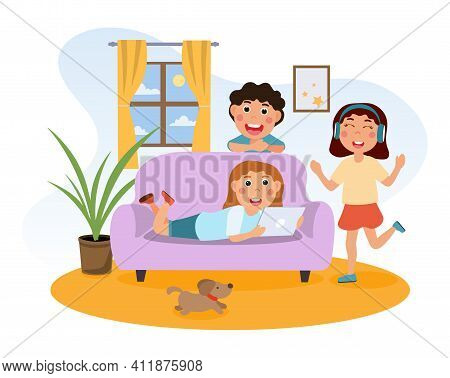 Happy Cute Kids Are Meeting Friends In Room. Little Cheerful Girl Is Using Tablet On Sofa. Friends A